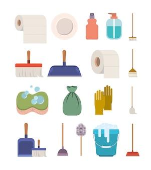 Elementos de servicio de limpieza silueta colorida