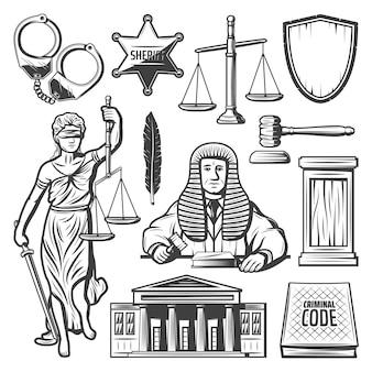 Elementos del sistema judicial vintage con esposas de juez, insignia de policía, escalas, mazo, pluma, libro de leyes, estatua de themis, palacio de justicia aislado