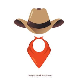 Elementos de sombrero y bufanda de vaquero