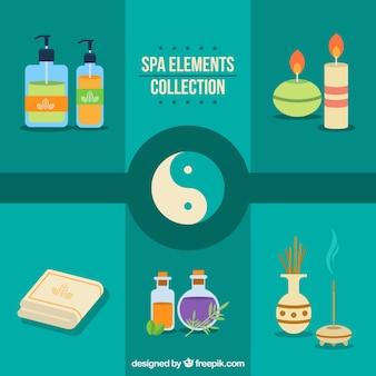Elementos de spa con símbolo de yin yang