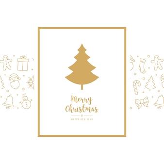 Elementos de tarjeta de icono de árbol de navidad texto de fondo azul marco de saludo de oro