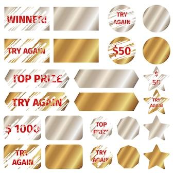 Elementos de la tarjeta de rascar. ganar premio de lotería de juego, efecto grunge, ilustración vectorial