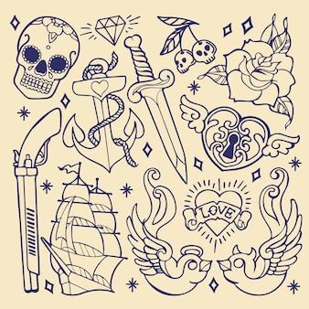 Elementos del tatuaje de la vieja escuela
