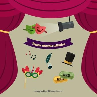 Elementos de teatro fantásticos en diseño plano