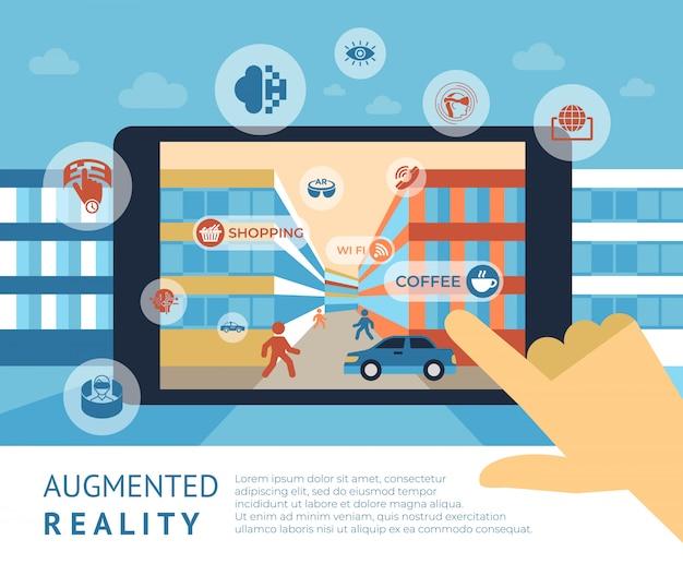Elementos de tecnología de realidad aumentada y plantilla de texto.