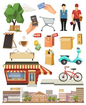 Elementos de la tienda, conjunto de imágenes prediseñadas de vector de baja poli