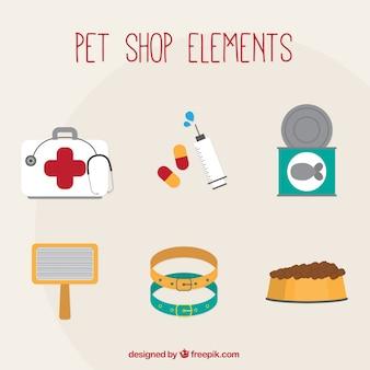 Elementos de tienda de mascotas y veterinaria
