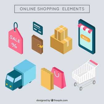 Elementos de tienda online isométricos