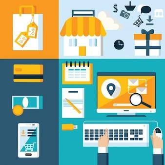 Elementos de tienda web en diseño plano