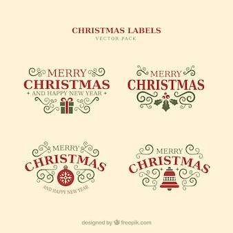 Elementos tipográficos de navidad, etiquetas y cintas de época