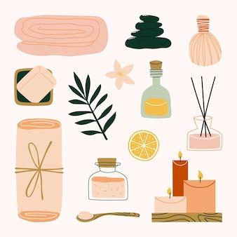 Elementos de tratamiento de belleza y spa con toalla, piedras, bola de hierbas, aceite esencial, jabón, sal mineral e ilustración de aromaterapia
