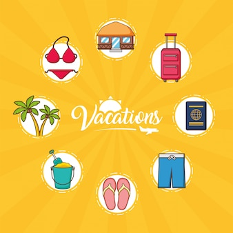 Elementos de vacaciones en la playa.
