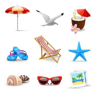 Elementos de vacaciones de verano realistas