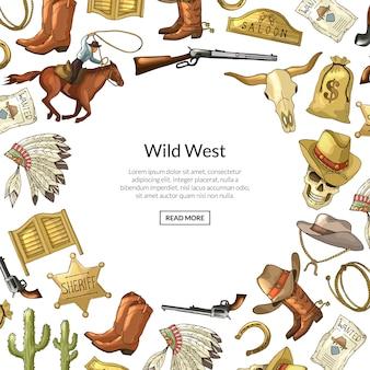 Elementos de vaquero del salvaje oeste dibujados a mano con lugar para ilustración de texto