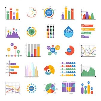 Elementos de vector de análisis de gráficos de datos de negocios