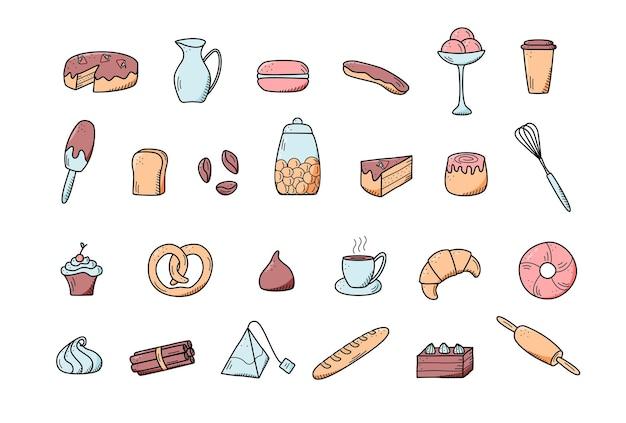 Elementos de vector de bocadillos dulces y pasteles, platos de café. excelente para decorar cafés y menús. estilo de icono de doodle.