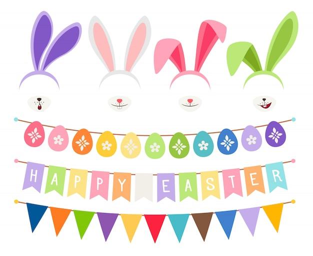 Elementos de vector de decoración de fiesta de pascua. huevos guirnaldas y orejas de conejo aisladas