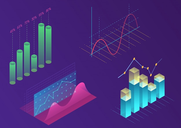 Elementos de vector de infografía de color degradado moderno brillante. diseño isométrico 3d para promoción, presentación, banner de ventas, diseño de informe de ingresos, sitio web elegante