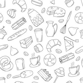 Elementos de vector de patrones sin fisuras de bocadillos dulces y pasteles, platos de café. excelente para decorar cafés y menús. estilo de icono de doodle.