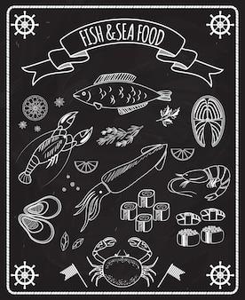 Elementos de vector de pizarra de pescado y marisco con dibujos de líneas blancas de barcos de pescado ruedas calamares langosta cangrejo sushi camarón langostino mejillón filete de salmón en un marco con una pancarta de cinta