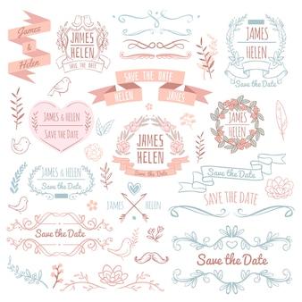 Elementos de vector retro boda para tarjeta de invitación. rústico diseño floral elegante y adornos. ilustración de elementos de invitación de boda retro