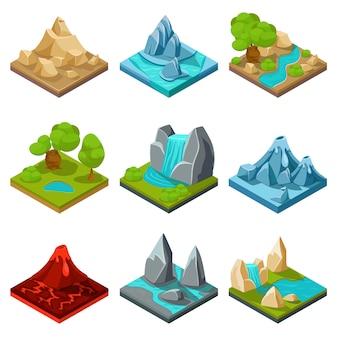Elementos de vector de terreno de juego. juego de piedra natural, juego de interfaz de dibujos animados de paisaje, ilustración de juego de capa de roca y agua