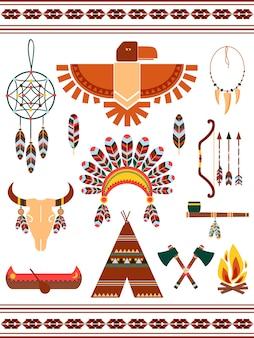 Elementos vectoriales decorativos indios aztecas y mayas