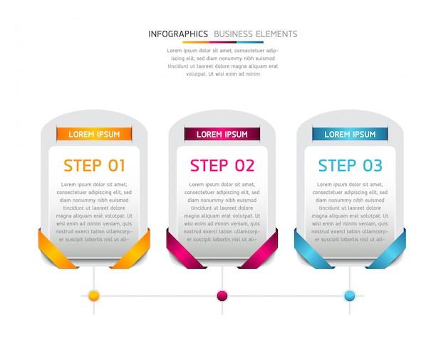 Elementos vectoriales para infografía. presentación y cuadro. pasos o procesos. 3 pasos