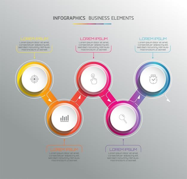 Elementos vectoriales para infografía. presentación y cuadro. pasos o procesos. 5 pasos