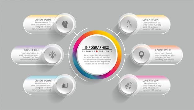 Elementos vectoriales para infografía. presentación y cuadro. pasos o procesos. 6 pasos