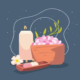 Elementos de velas aromáticas de spa y sales minerales.