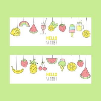 Elementos de verano dibujados a mano para diseño de banner. tarjeta en estilo doodle