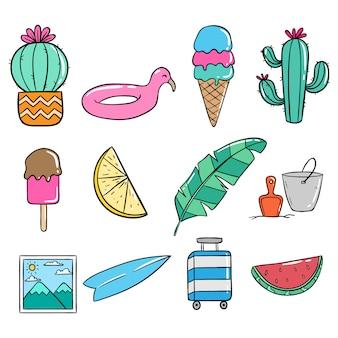 Elementos de verano en estilo doodle