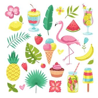 Elementos de verano. flamingo, helado y piña, hojas y cóctel, flores y batidos.