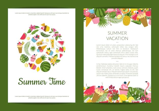 Elementos de verano lindos planos, cócteles, flamenco, tarjeta de hojas de palma