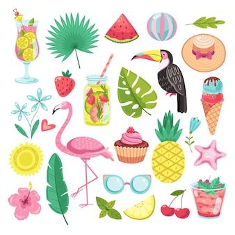 Elementos de verano. pegatinas de vacaciones tropicales.