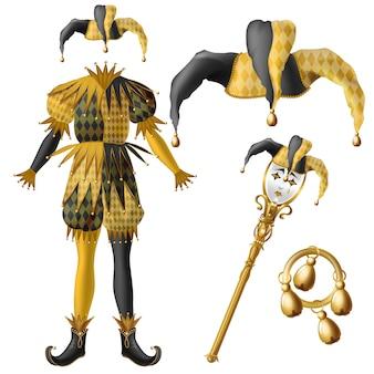 Elementos de vestuario medieval de bufón, sombrero a cuadros, colores negro y amarillo con campanas