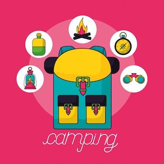 Elementos de viaje de campamento en estilo plano