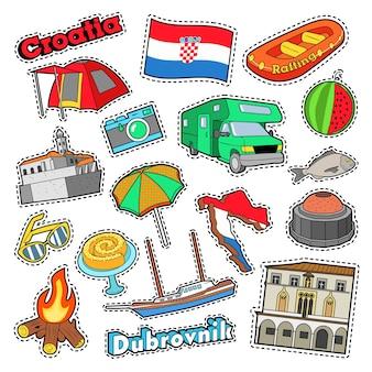 Elementos de viaje de croacia con arquitectura y barco. vector doodle