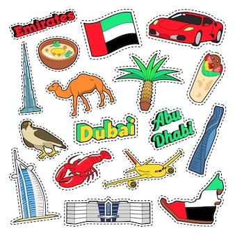 Elementos de viaje de emirates con arquitectura y palmera. vector doodle