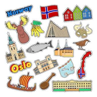 Elementos de viaje de noruega con arquitectura y vikingos. vector doodle