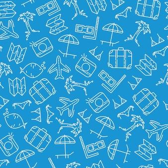 Elementos de viaje patrón de estilo doodle