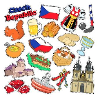 Elementos de viaje de república checa con arquitectura y comida tradicional. vector doodle