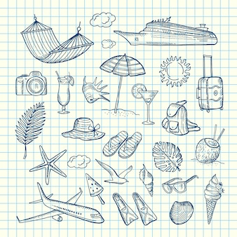 Elementos de viaje de verano dibujados a mano