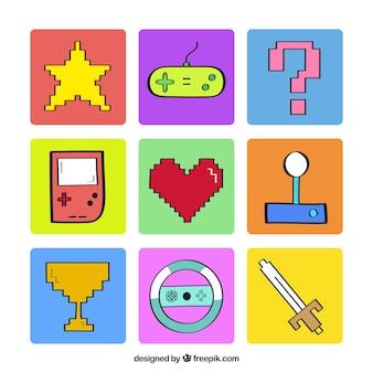 Elementos de videojuegos pixelados