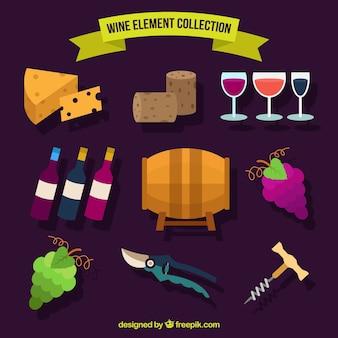 Elementos de vino en estilo plano
