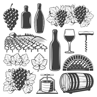 Elementos de vino vintage con copa de vino botellas de barril de madera viñedo racimos de uva sacacorchos aislado