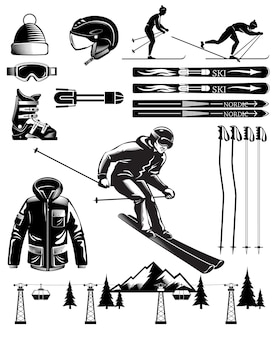 Elementos vintage de esquí nórdico