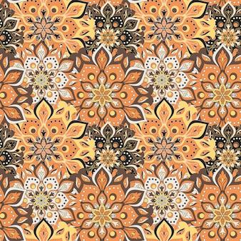 Elementos vintage de patrón de mandala dibujados a mano sin costura en orienta