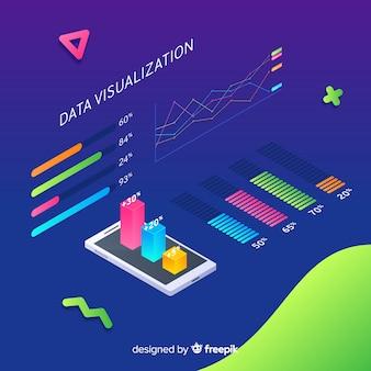 Elementos visualización de datos fondo isométrico
